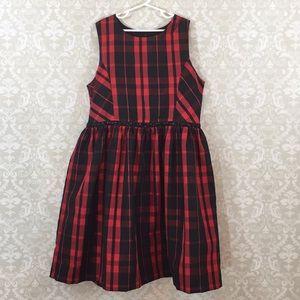 Cherokee Girls XL red/black plaid taffeta dress